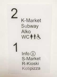 Opastetaulut opastavat asiakkaita ostoskeskuksissa.